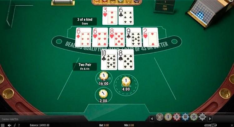Casino Holdem интерфейс